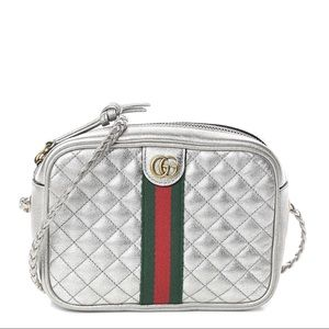 Gucci Laminated Calfskin Quilted Web Mini Bag
